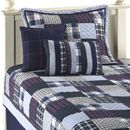 blue plaid quilt set