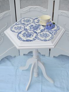Romantic Cottage Chic Side Table with Crown Ducal Bristol Blue China
