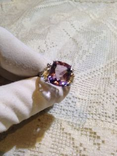 Nemesis Antique Purple Amethyst Vintage Stone 92.5% Sterling Silver Ring