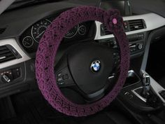 Crochet Steering Wheel Cover Wheel Cozy with a Flower - dark orchid