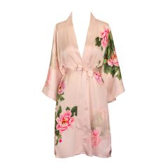 """- Enjoy every day luxury in printed silky charmeuse robe - Sash tie closure, belt loops and inside ties. French seam finish. - One Size Fits Most. Fits up to 48"""" at chest & hip. 35.5"""" length. - 100% P"""