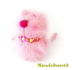 PINK KITTY Amigurumi Cat Kitty Doll - Knit Mohair Cat - Handmade Miniature Cat - Little Cat - Mohair Wool Cat Handmade Gift Cat Kitty
