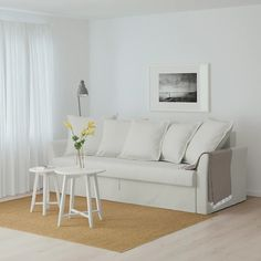 IKEA HOLMSUND Three-seat sofa-bed Gräsbo light blue Cover made of extra hard-wearing polyester with a dense texture. Canapé Convertible Ikea, Sofa Cama Ikea, Sofa Bed Frame, Ikea Family, Ikea Home, Small Sofa, House Beds, Sleeper Sofa, Luxury Bedrooms
