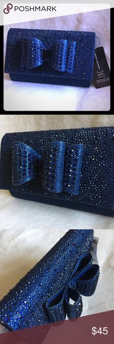 Rhinestones Bow Clutch - BRAND NEW with TAGS This gorgeous bag is brand new with tags. Perfect for a night on the town. The rhinestones really make it pop! Your phone and wallet fit comfortable inside this cute bag. Removable strap. Reasonable offers considered but please no lowballing. Bundle 2 or more items for additional savings and to pay just one shipping charge. No trades please INC International Concepts Bags Clutches & Wristlets