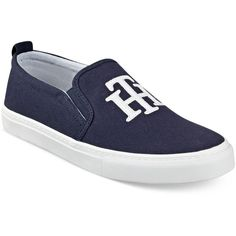 Tommy Hilfiger Lucey 2 Slip-On Logo Sneakers ($59) ❤ liked on Polyvore featuring shoes, sneakers, marine blue, tommy hilfiger shoes, blue shoes, slip on trainers, blue slip on shoes and slip on sneakers