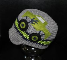 Monster Truck Visor Hat  Grey Green and Navy by TrendyMunchkins, $28.00
