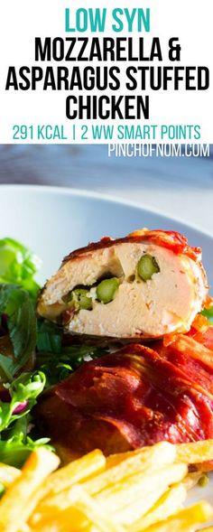 Mozzarella and Asparagus Stuffed Chicken - Pinch Of Nom Duck Recipes, Chicken Recipes, Chicken Meals, Free Recipes, Low Cal Diet, Mozzarella, Slimming World Recipes Syn Free, Slimming Eats, Slimming Word