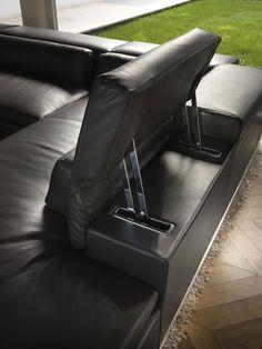 Divano angolare reclinabile in pelle con poggiatesta PLAN by GYFORM
