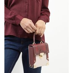 New Look Burgundy Snakeskin Panel Mini Box Bag ($32) ❤ liked on Polyvore featuring bags, handbags, shoulder bags, burgundy, single strap shoulder bag, single strap handbag, snakeskin handbags, burgundy handbags and red purse