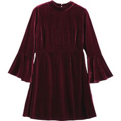 Cut Out Velvet Bell Sleeve Dress ($20) ❤ liked on Polyvore featuring dresses, rosegal, brown cocktail dress, cutout dresses, brown dress, velvet dress and flared sleeve dress
