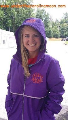 Preppy Monogrammed Violet Rain Jacket | underthecarolinamoon.com #RainyDays #MonogramRainJacket #RainJacket #PurpleRainJacket #UTCM #UnderTheCarolinaMoon