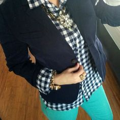 TGIF… With bright pants J.Crew Schoolboy Blazer | J.Crew Gingham Top | J.Crew Teal Capris | Michael Kors Link Ring | Olive + Piper Leopard Watch | BaubleBar Link Tortoise Statement Necklace