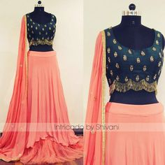 A dreamy high-low lehenga in pure georgette with hand embroidered raw silk blouse.Customization available.For enquiry/order Whatsapp:- +91 8527463626. 18 December 2017