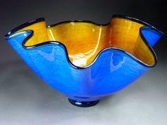 Hand Blown Glass Platter Bowl by dunnikerdesigns on Etsy, $100.00