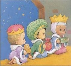 Sandra fazendo arte: A história do Natal - The Christmas Story - representação com desenhos de Ruth Morehead