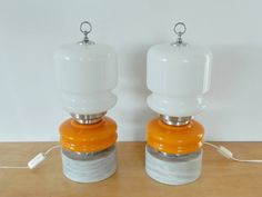 Table lamp of glass and metal on a stone base. 1960's/1970's. Two available - NOVAC Vintage