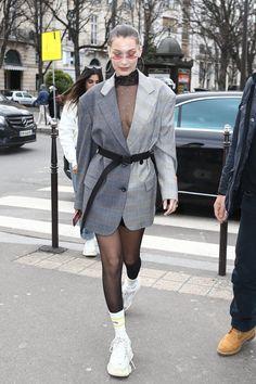 Bella Hadid wearing Balenciaga Triple S Sneakers, Luv Aj Xl Capri Wire Hoop Earrings, Heron Preston Fall 2018 Two Tone Blazer and Heron Preston White Ctnmb Socks
