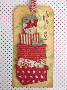 Creatively LA: Day 7 - Twelve Tags of Christmas with a Feminine Touch Christmas Paper Crafts, Christmas Gift Tags, Xmas Cards, Handmade Christmas, Holiday Cards, Christmas Packages, Christmas Journal, Timmy Time, Handmade Gift Tags