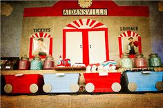 Vintage Train Station Party via www.karaspartyideas.com. LOVE the desserts in the box car train!