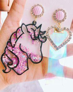 Kawaii Accessories, Kawaii Jewelry, Cute Jewelry, Jewelry Accessories, Fashion Accessories, Fashion Jewelry, Pink Earrings, Cute Earrings, Unique Earrings