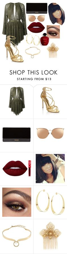"""""""Untitled #479"""" by beautybqueen on Polyvore featuring Jay Ahr, Lipsy, Balmain, Linda Farrow, Lime Crime, Satine, Lana, Alexis Bittar and Miriam Haskell"""