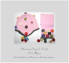 Blooming chuyo and scarf set/ Baby Alpaca by MondinCompany on Etsy, €85.00