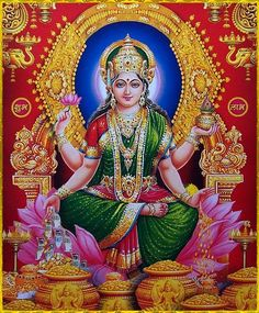"☀ SHRI LAKSHMI DEVI ॐ ☀ ""You are the mother of all creatures, as that God of gods, Hari, is their father. And this universe, consisting of moving and nonmoving entities, is presently permeated by you,..."
