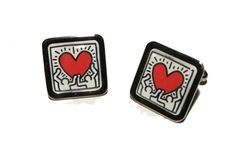 Keith Haring 'Heart' Cufflinks by mixedupdolly on Etsy