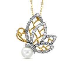 6.0mm Cultured Freshwater Pearl and 1/10 CT. T.W. Diamond Butterfly Pendant in 10K Gold - Zales