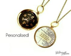 Large Custom Map Compass Necklace with by VictoriaCampAllison--   I'd like this with somewhere in Wales as the map and a different quote?