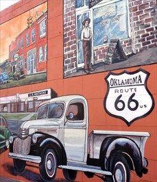 Bethany 1920 to 1950 - Route 66 Mural - Bethany, Oklahoma, USA. Route 66, Oklahoma Usa, Road Trip, Kicks, California, Places, Atelier, Poster, Posters