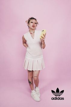 Bea wears the Tennis Luxe Cardigan, Polo Shirt, Tennis Skirt and #adidasForum Low Adidas Dress, Tennis Dress, Pink Adidas, Pink Dress, Retro Fashion, Adidas Originals, Polo Shirt, Singer, How To Wear