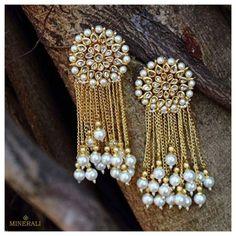 Dangler earrings from Just jewllery Indian Jewelry Earrings, Jewelry Design Earrings, Antique Earrings, Bridal Earrings, Jewelery, Designer Earrings, Silver Earrings, Gold Jewelry, Antique Jewellery Designs