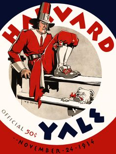 In Yale and Harvard's 1934 duel at Yale, the final score was Yale, 14; Harvard, 0. Here's the original cover art from that day's game program -- vibrant colors restored, team spirit alive and well. Of