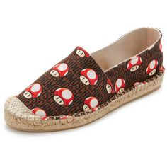 Moschino Mushroom Espadrilles ($140) ❤ liked on Polyvore featuring shoes, sandals, braided sandals, espadrille sandals, woven sandals, platform espadrilles and moschino sandals