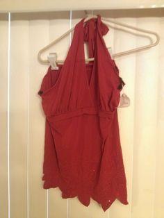 Fashion Love Red Halter Top XL Beaded Floral Design   eBay