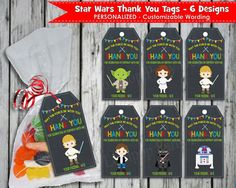 Shop for on Etsy, the place to express your creativity through the buying and selling of handmade and vintage goods. Thank You Labels, Thank You Tags, Star Wars Invitations, Personalized Tags, Printable Labels, Treat Bags, Stars, Birthday, Handmade Gifts