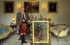 'Blimp': Late clan chief Sir Gregor MacGregor with the Portrait of his Grandfather, Admiral Sir Malcolm MacGregor of MacGregor, painted in 1878