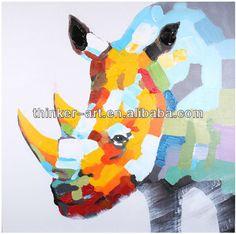 Handmade-colorful-abstract-animal-rhinoceros-Oil-painting.jpg (600×597)