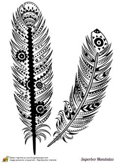 **Taller Muy Freak** - Hecho a mano / Creación Textil.: Bordado de Plumas, a mano. Mandalas Painting, Mandalas Drawing, Mandala Art, Zentangles, Feather Art, Feather Tattoos, Feather Design, Silhouette Portrait, Zen Art