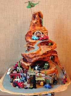 "Radiator Springs ""Cars"" cake! Oh my gosh! So cute!"
