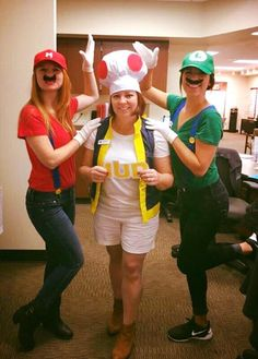 Our Mario, Luigi, and Toad costumes for work! #diy #mariobrothers #threesomecostume