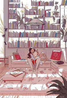 pascal campion: Meet me behind the bookshelf Couple Illustration, Illustration Art, Couple Drawings, Art Drawings, Pascal Campion, Cute Couple Art, Photo Images, Foto Art, Art Graphique