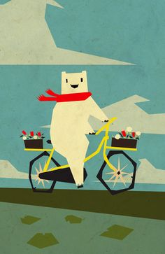 yeti taking a ride ++ yetiland-- Like the colors on this cute painting for Evie's room