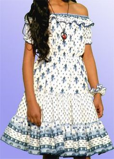 Blue on white Provençal patterned dress #Provence #France #Europe #culture  This is actually so adorable