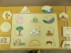 Redo shape puzzles--could use for lost sheep hiding behind a piece, or changeable inserts for different stories