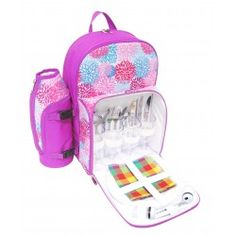 PicnicHappy Picnic Backpack for 4 Person, Pink cute design, with wine holder, Plates, Cutlery Set