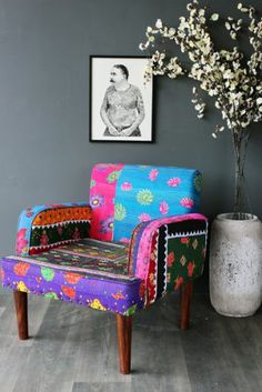 floral patchwork arm chair 3 - Chaise Eleven Patchwork Colors