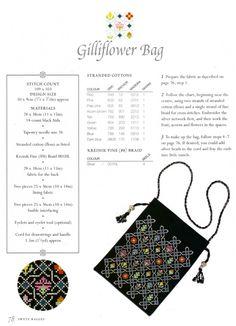 Elizabethan gilliflower design seen here on a bag. Chart pinned also. Gallery.ru / Фото #77 - Eliza-n CS - livadika
