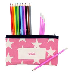 Pink Personalised Pencil Case and Pencils